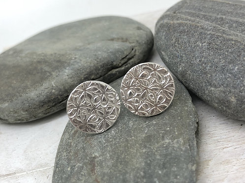 Flower Stamped Stud Earrings