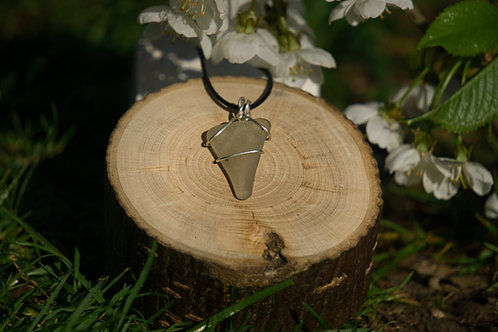 Medium White Triangle Sea Glass Pendant