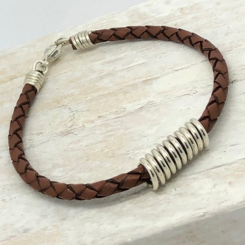 Men's Plaited Leather Bracelet with Coil