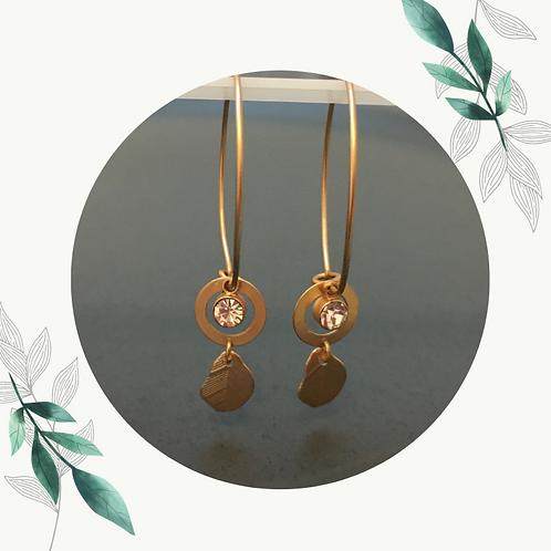 Gouden ring met diamandje en blaadje - Nikkelvrij