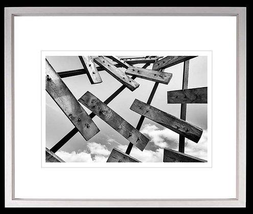 Sky Planks A4 Platinum print White Ash Frame