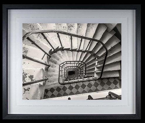 Spiral Stairs Paris A4 Platinum print Black Ash Frame
