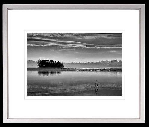 Silver Island Lough Derg A3 inkjet print White Ash Frame