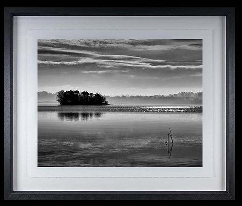 Silver Island Lough Derg A3 Platinum print Black Ash Frame