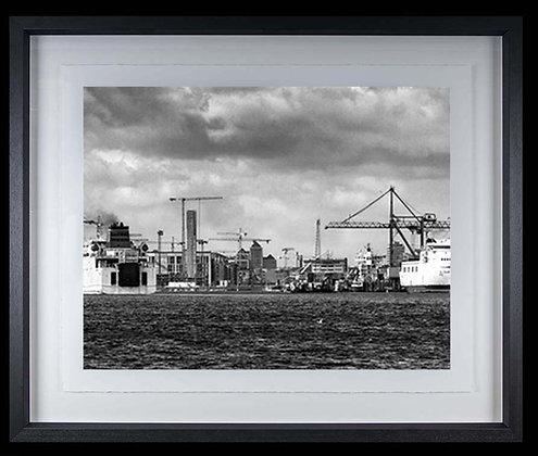 Dublin Docks A4 Platinum print Black Ash Frame