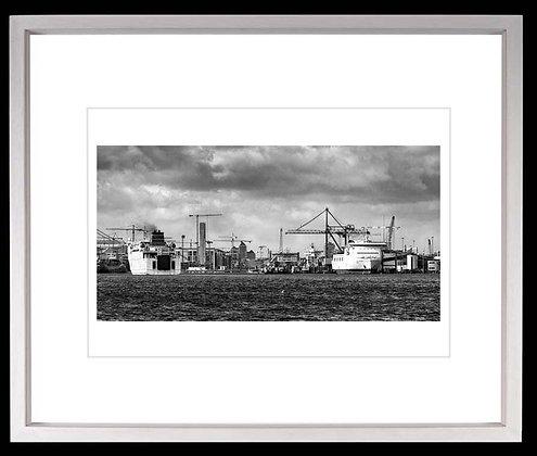 Dublin Docks A4 inkjet print White Ash Frame