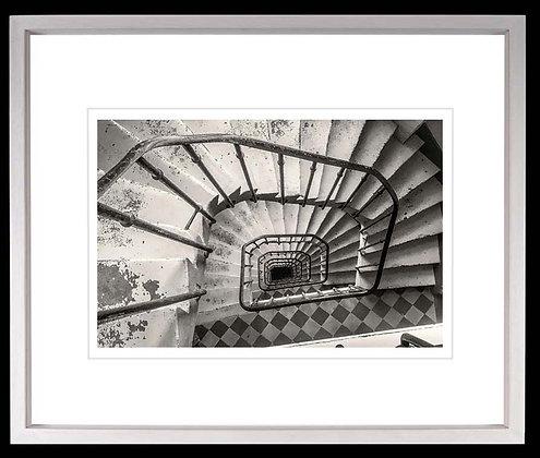 Spiral Stairs Paris A3 Platinum print White Ash Frame