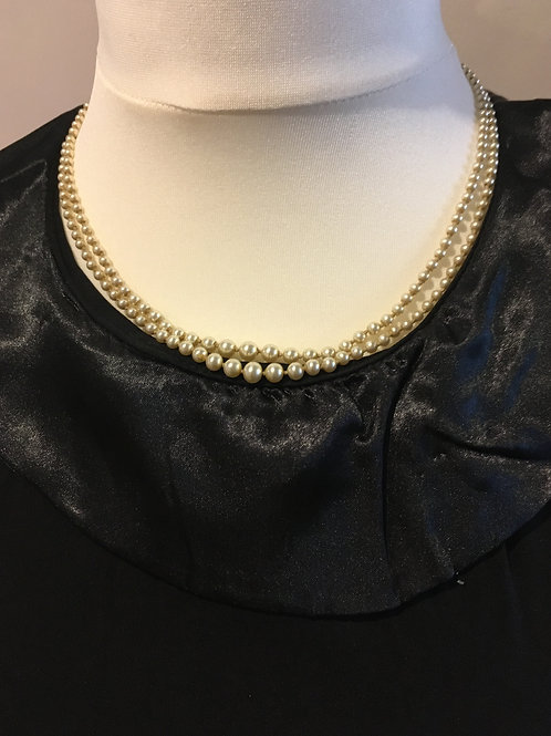 Art Deco Twin Set Grey Pearl Necklace with Paste Diamonds