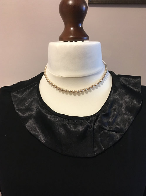Classic Graduated 'Pinkish' Glass Faux Pearls with Silver Clasp