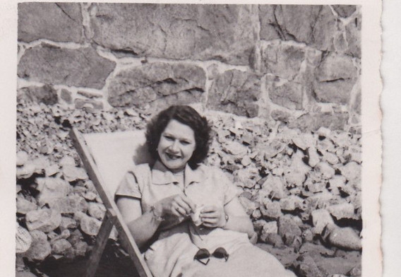 Lady relaxing in the sun 1950s