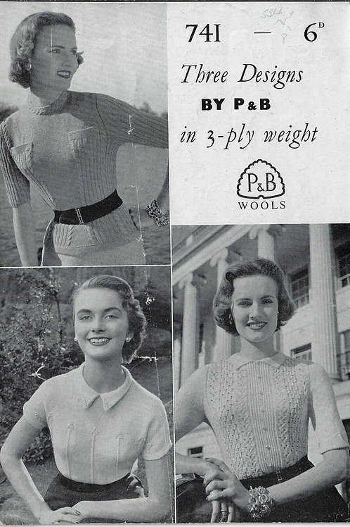 Vintage Knitting Pattern Booklet of 3 Sweaters