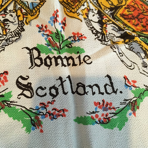 Souvenir Silk Crepe Large Scarf From Scotland