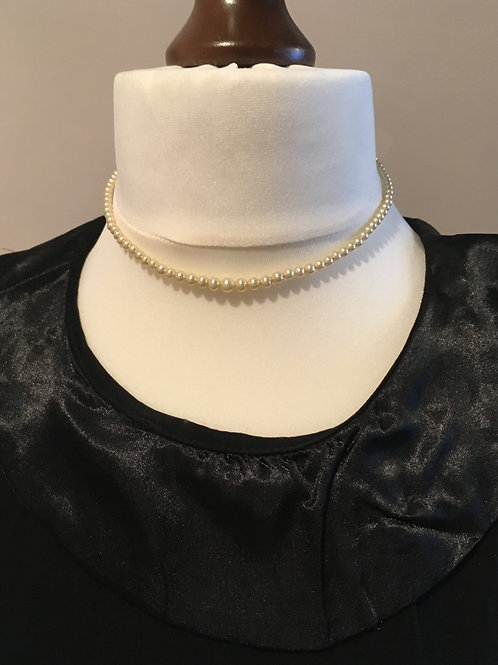 Classic Strand of Ivory Glass Faux Pearls