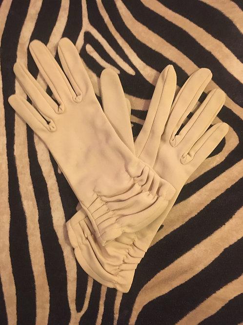 Beige Gathered Cuffs Gloves