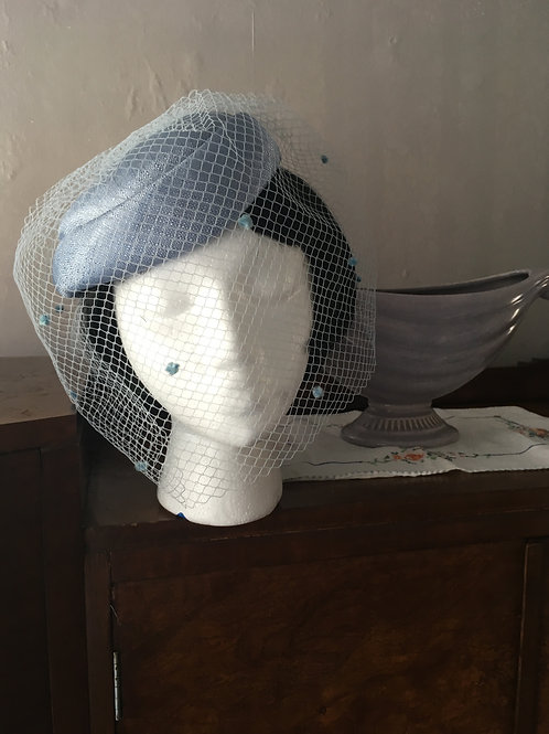 Bird Cage Pale Blue Hat in Box