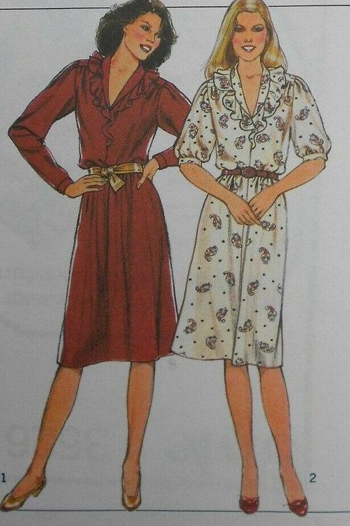 2 Vintage Frill Neck Day Dress  Sewing Pattern- size 14