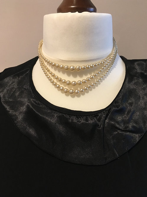 Trio Set of Cream Graduated Glass Faux Pearls with Diamante Clasp