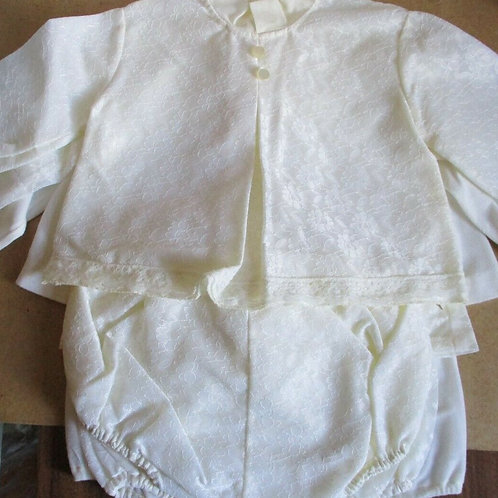 Vintage Baby Outfit with Brocade & Buttons
