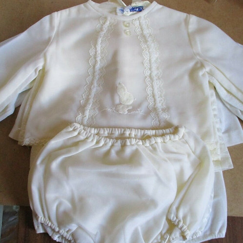 Vintage Baby Outfit with Bunny Motif & Lace