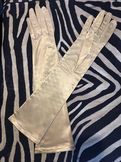French Gold Satin Evening Gloves