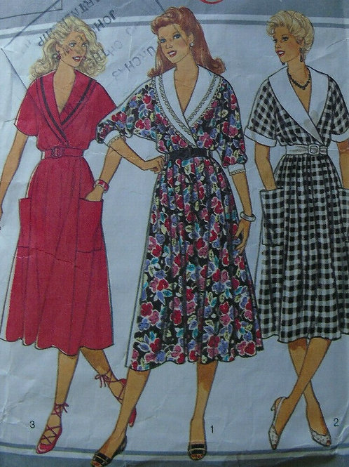 3 Vintage Shawl Neck , full skirt,Day Dresses Sewing Pattern- size 16
