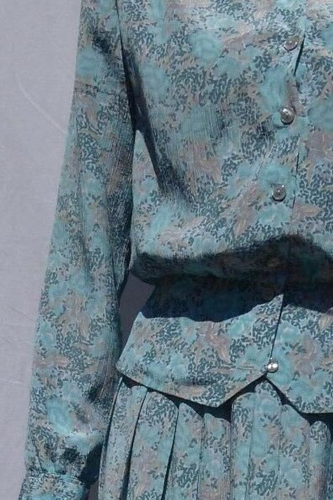 Peplum Pleated  Skirt Suit