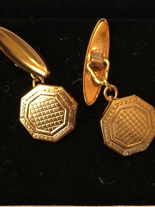 2 Pairs of Antique Unused Rose Gold Cufflinks- 2 designs