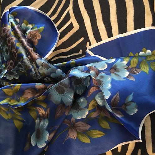 Floral Royal Blue Silk Satin Head Scarf