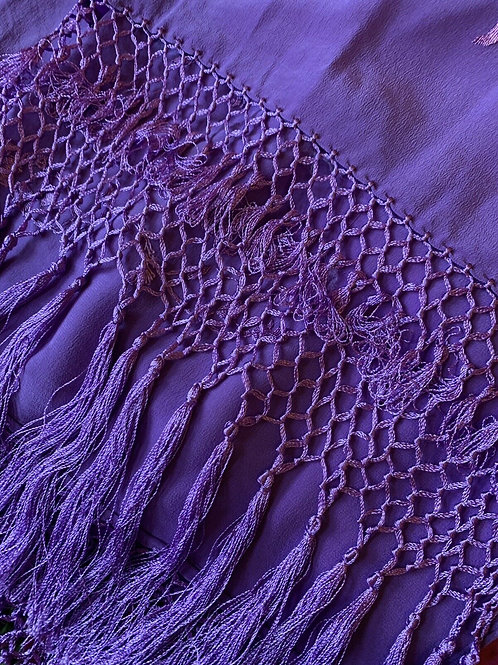 Antique- Long Purple Hand Stitched Crepe Silk Shawl