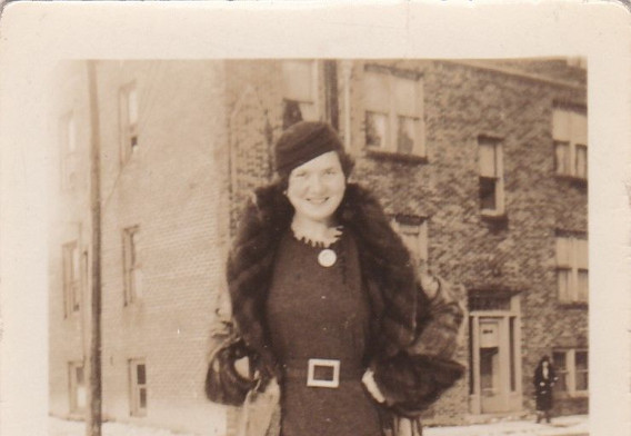 Fashionable lady in winter clothes 1930s