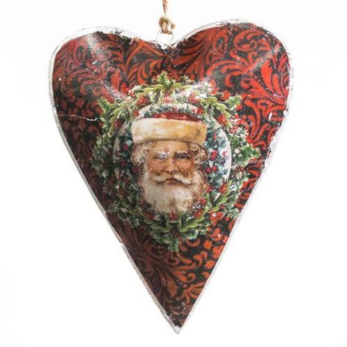 Vintage Style Tin Christmas Ornament-Santa in a Wreath