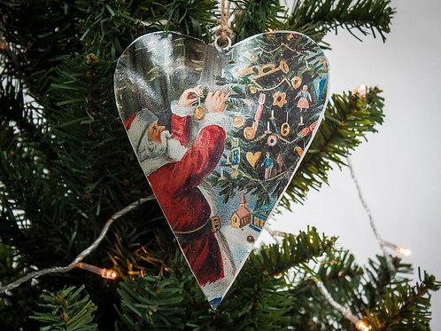 Vintage Style Tin Christmas Ornament-Santa & Tree