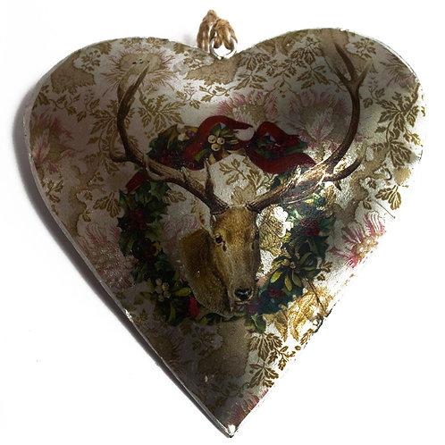 Vintage Style Tin Christmas Ornament-Stag