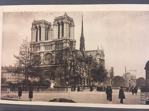 Antique Postcard of Notre Dame Cathedral Paris