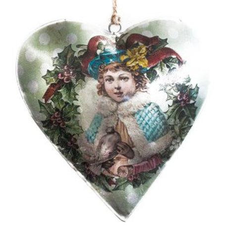 Vintage Style Tin Christmas Ornament-Girl