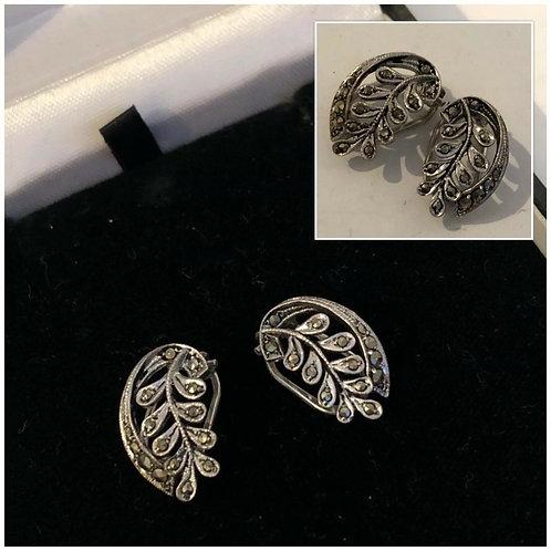 Silver & Marcasite Clip on Earrings