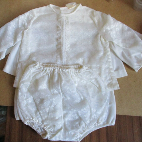 Vintage Baby Outfit with Damask & Lace