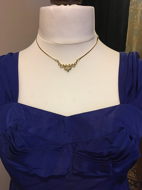 Gold Lavalier Pendant Necklace with Diamond Gems