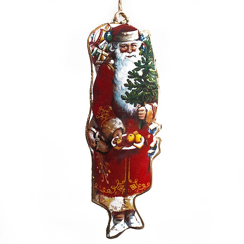 Vintage Style Father Xmas Tin Tree Ornament- 4 designs