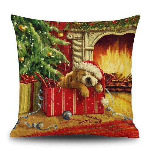 Large Christmas Linen Cushion Covers- PUPPIES
