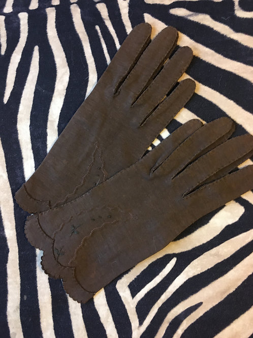 Brown Hand Stitched Day Gloves