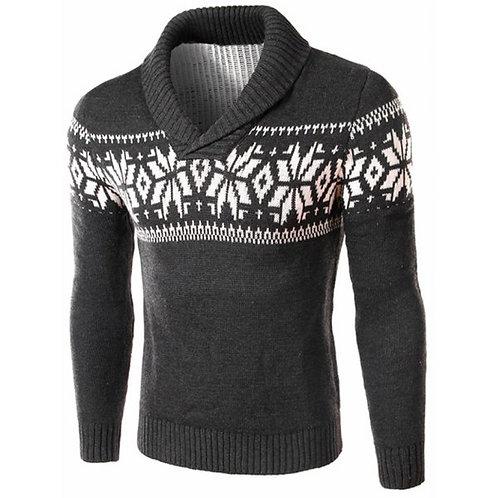 Snowflake Shawl Collar Men's Sweater