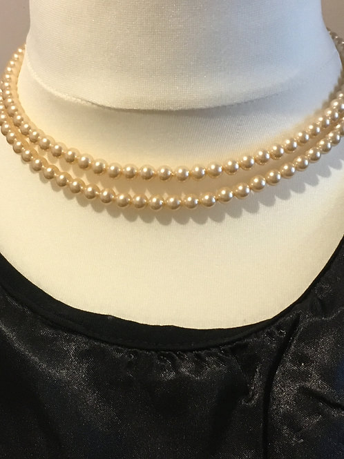 Twin Set of Cream Larger Glass Faux Pearls, Clasp with gems.
