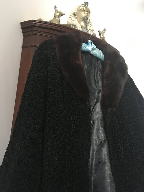 Astra, Parisian Black Astrakhan Coat with Mink Collar