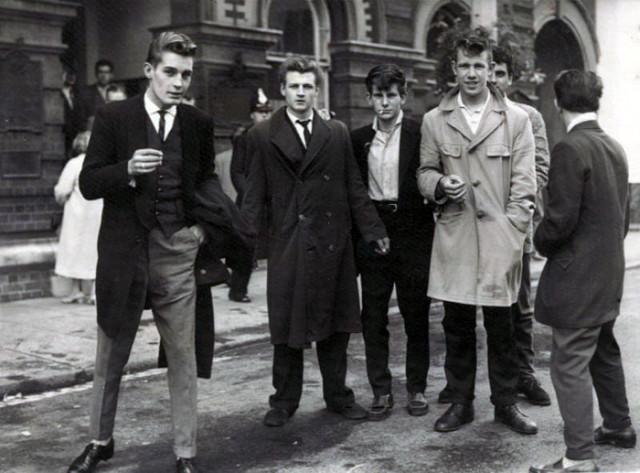 Young men in coats 1950s