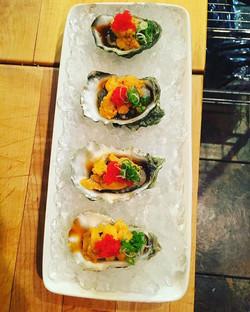 Fresh oysters with Uni (sea urchin)  #visitsacramento #food #foodart #foodporn #sushi #sashimi #nigi