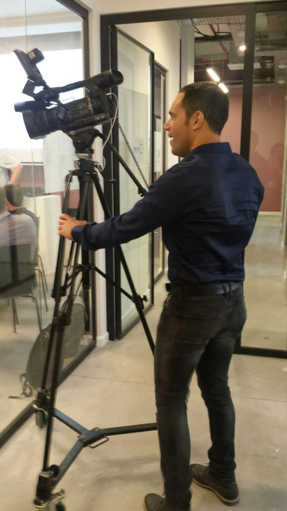 "Teddy Nehmad (תדי נחמד) filming during Lithuanian acceleration week held in ""Start in Haifa"" startup accelerator"