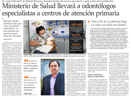 Ministerio de Salud llevará a odontólogos especialistas a centros de atención primaria.