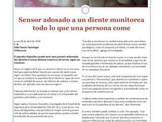 Sensor adosado a un diente monitorea todo lo que una persona come