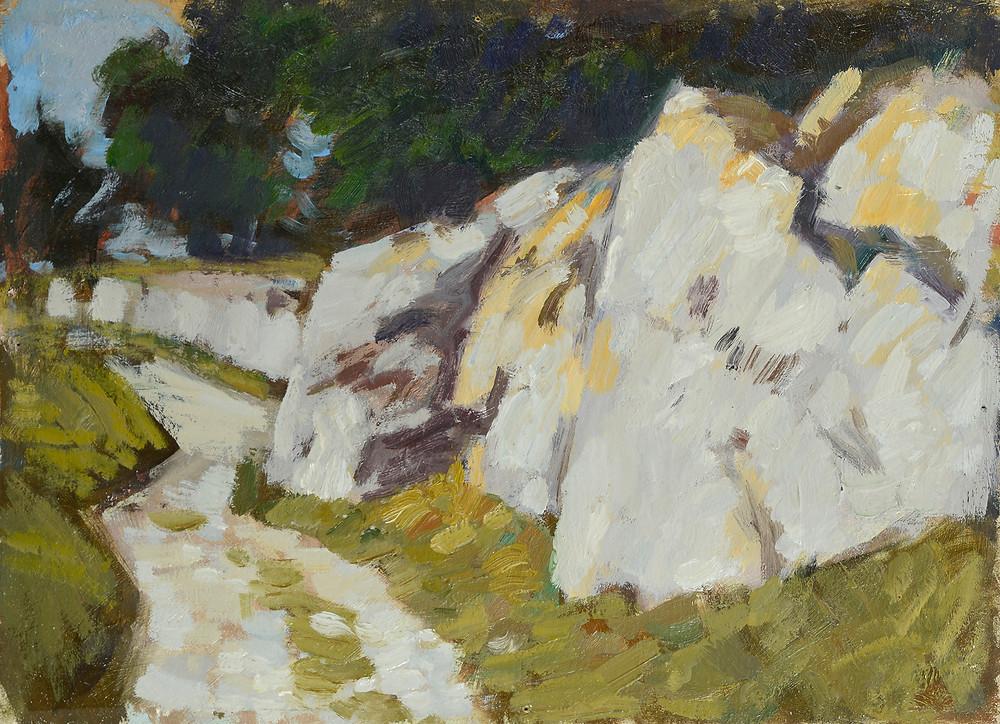 Peinture Alfred BERGIER (Avignon 1881-Manosque 1971) Le chemin dans la colline  Huile sur panneau non signé. Collection Jane Guimety Dimensions 24 x 33 cm